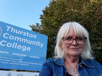 Penny Otton outside Thurston Community College